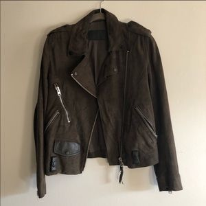 All Saints Brown Suede Moto Jacket